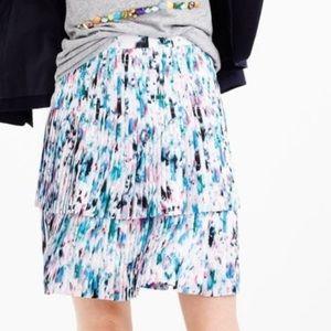 NWOT Jcrew Watercolor Pleaded Skirt